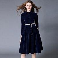 OL Stil Mavi Kadife Elbise Kış Elbiseler Kadın 2018 Vestido Longo Kadın Uzun Kollu Ofis Elbise Ropa Mujer Robe Longue 1315