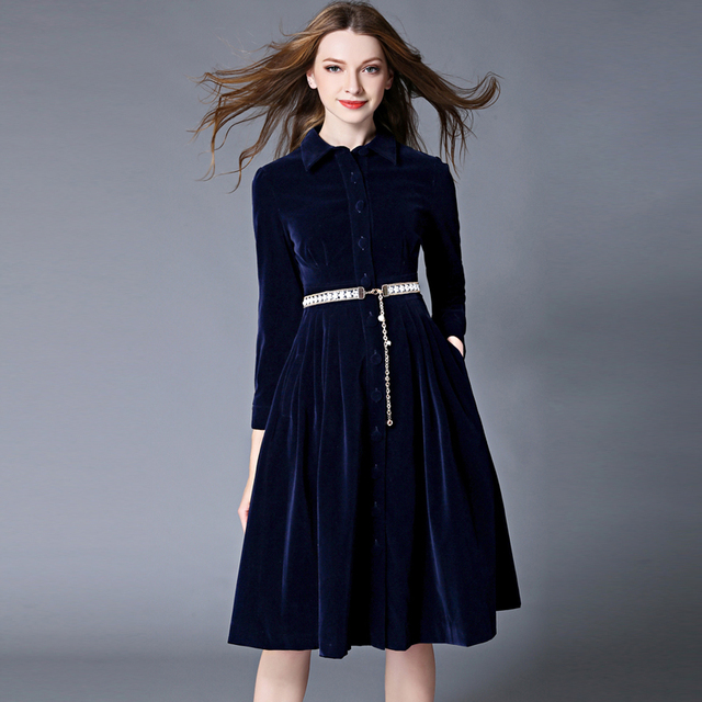 ff74e4f48c9d4 OL Style Blue Velvet Dress Winter Dresses Women 2018 Vestido Longo Woman  Long Sleeve Office Dress Ropa Mujer Robe Longue 1315