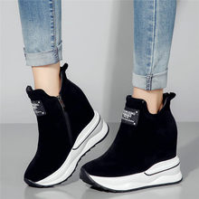 2019 Tennis Shoes Women Cow Leather High Heel Pumps Wedges Platform Round Toe Casual Top Trainers Punk Sneakers