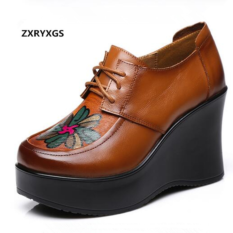 ZXRYXGS Women Shoes elegant Platform Wedges High Heels 2019 Newest Fashion Spell Color Printing Real Leather Shoes Woman Shoes