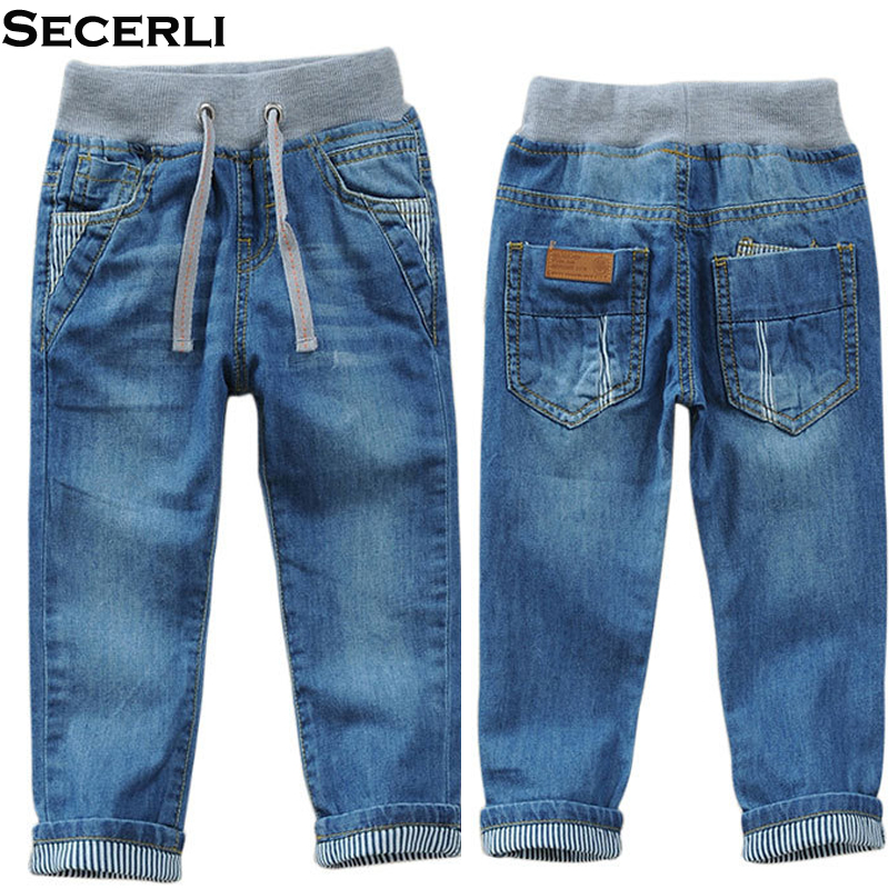 Kids Boys Jeans Trousers 2 To 14 Y Children Boys Denim Pants Spring Autumn Elastic Waist Boys Casual Pants цена