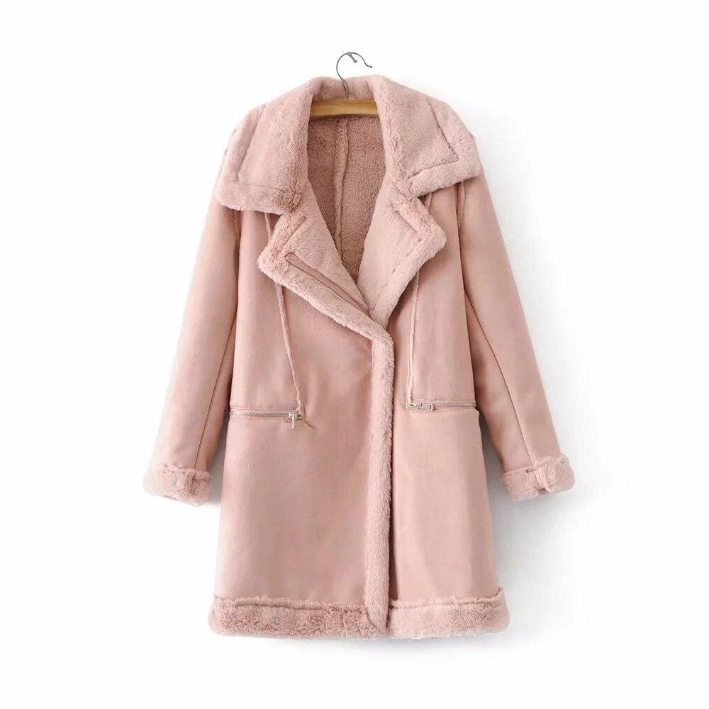 Pink Autumn Winter   Parkas   New Women Long Fur Coat Plus Size Outwear Turn Down Collar Warm Thick Jacket Casco Femminos Womens