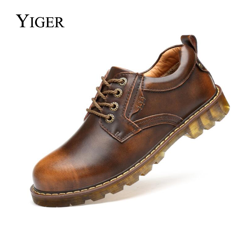 YIGER человек оснастки обувь на шнуровке Повседневное из натуральной кожи Для мужчин Martin обувь большой Размеры круглый носок оксфорды Мужска...