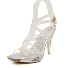 Plus Size 40-42 Summer Beach Women Clear Transparent Strappy Ankle Strap Gladiator Sandals Square Toe Platform High Heel Pumps