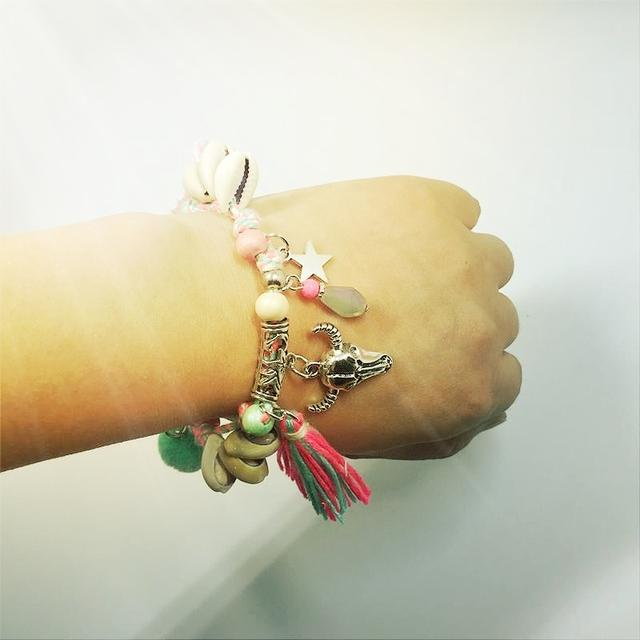 Shell Summer Wood Tassel Bracelet