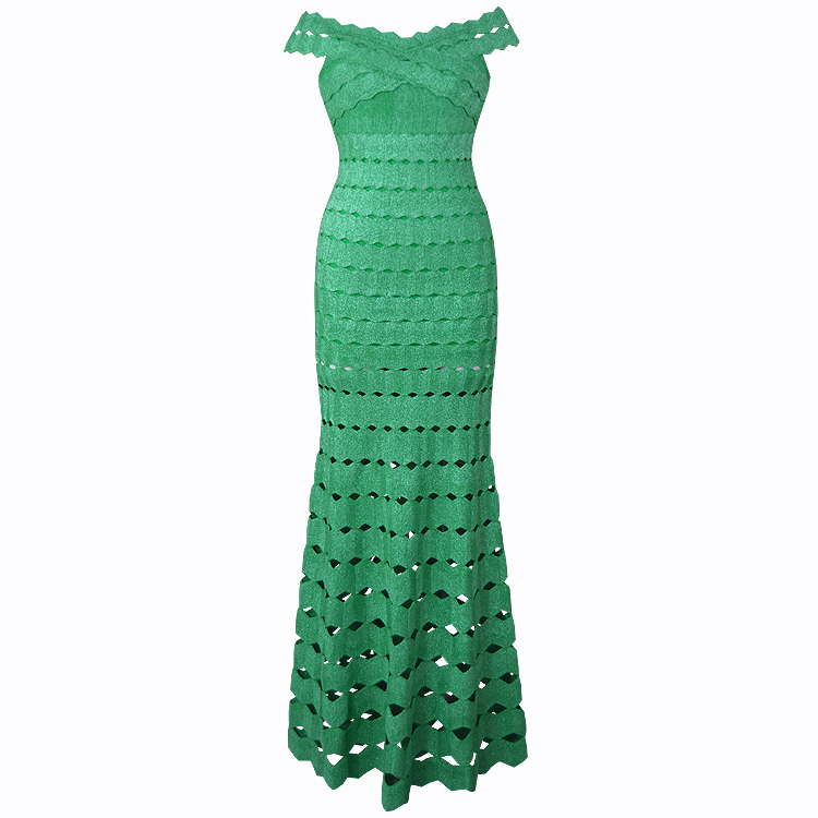Women <font><b>Luxury</b></font> <font><b>Sexy</b></font> Off Shoulder Green Long Bandage <font><b>Dress</b></font> <font><b>2018</b></font> Knitted Elegant Designer Party <font><b>Dress</b></font> image