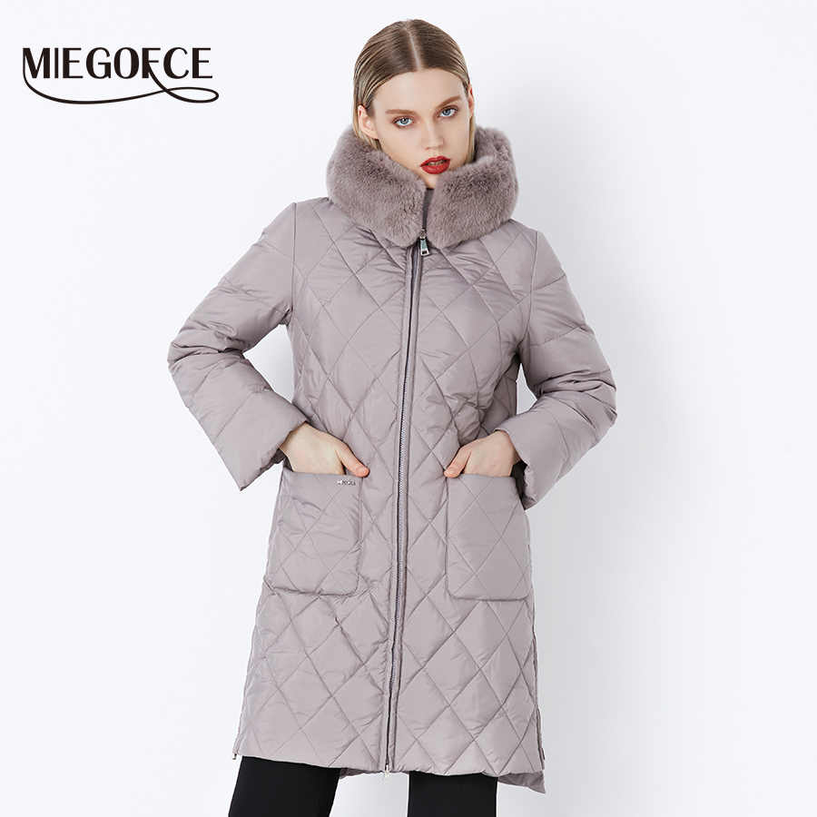 MIEGOFCE 2019 New Collection Winter Women Jacket Coat Original Fur Collar Women Parkas Fashion Brand Womens Cotton Padded Jacket