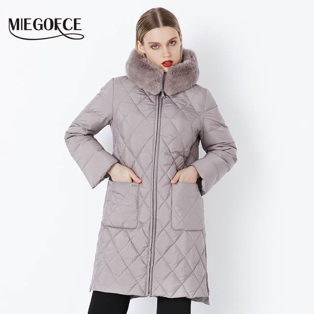 5ebc0323 placeholder Новая коллеция от дизайнеров MIEGOFCE пуховик зимний женский  настоящий меховой воротник женская парка пальто для женщин