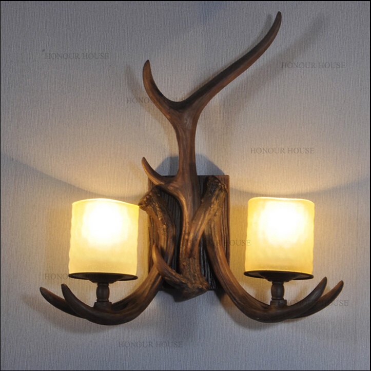 2015 Nordico Retro Wall Lamp American Country Wall Light Resin Deer Horn Antler Lampshade Decoration Sconce 110 240V New Year