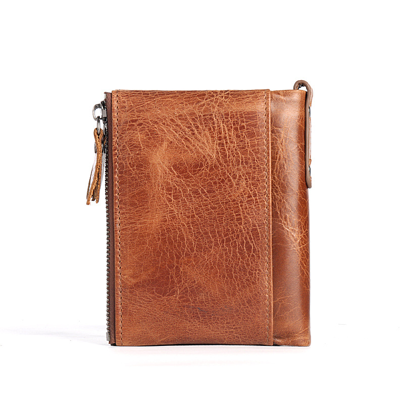 Double Zipper Wallet Men Genuine leather Vintage Short Male Purse With Coin Pocket Multi-Card Bit Wallet Portomonee Man