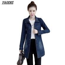 Женский джинсовый жакет пальто весна большой размер с длинным рукавом джинсовой верхняя одежда повседневная vintage ковбойские топы осень женщины базовая пальто yagenz