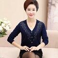 La primavera y el otoño de punto de manga larga de las mujeres suéteres de punto flojo yardas grandes S-5XL diamantes del todo-fósforo de la Rebeca