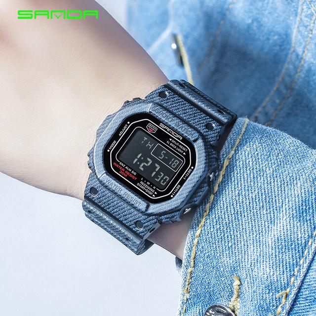 2018 SANDA Waterproof Women Luxury LED Electronic Digital Watch