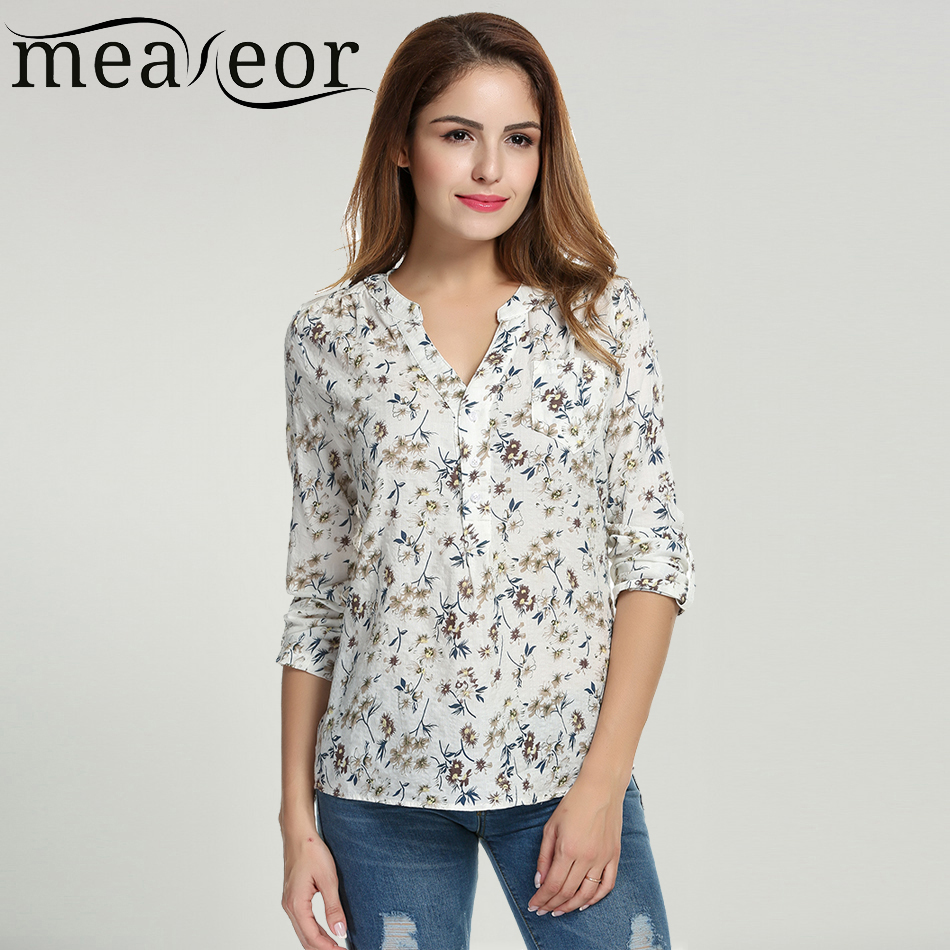Meaneor Women Floral Print Blouse Tops 1950s 60s Vintage Autumn Clothing Casual Roll Up Sleeve Cotton Fabric High Quality Blouse