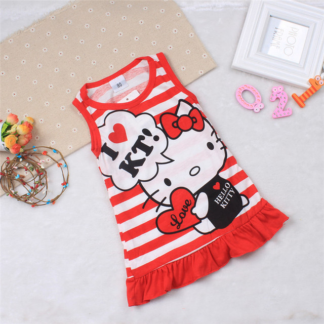 Cute Minnie Hello Kitty Dress Sleeveless Baby Girl Summer Dress Children Clothing Dress for Girls Christmas New Year Costume