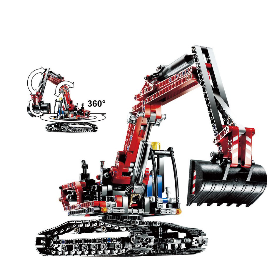 760pcs City Red Engineering Excavator Set Model Diy Brick Building Blocks Kit Toys Gifts Compatible with Legoe Technic 20025 196pcs building blocks urban engineering team excavator modeling design