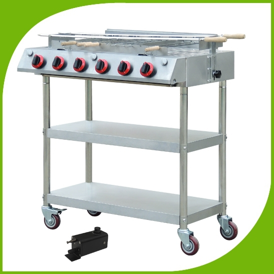 Super quality stainless steel gas burners bbq with wheel skewers roraty infrared barbecue grill with ratating