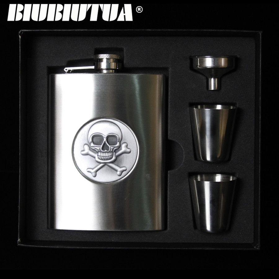 BIUBIUTUA Halloween Skull Thickening 8oz Whisky Hip Flask Stainless Steel Mini Wine Portable Bar Outdoor Hip Flask Gift For Man