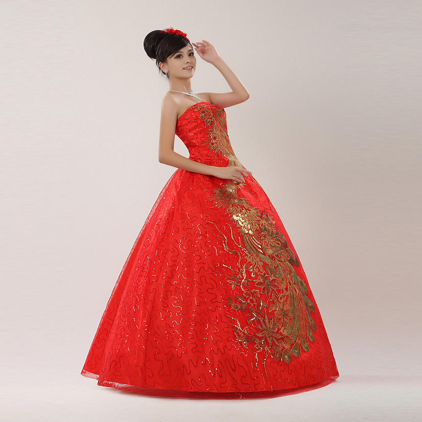 83f02f705 Free Shipping Plus size Red Strapless with Gold Wedding Dresses Cheap Bride  Frocks Ball Gowns Vestidos De Novia XN056