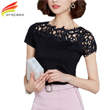 Red Lace Blouse Women 2017 Fashion Casual Summer Hallow Out Shirts Woman Clothes Short Sleeve Slim Blusa Feminina Ladies Tops
