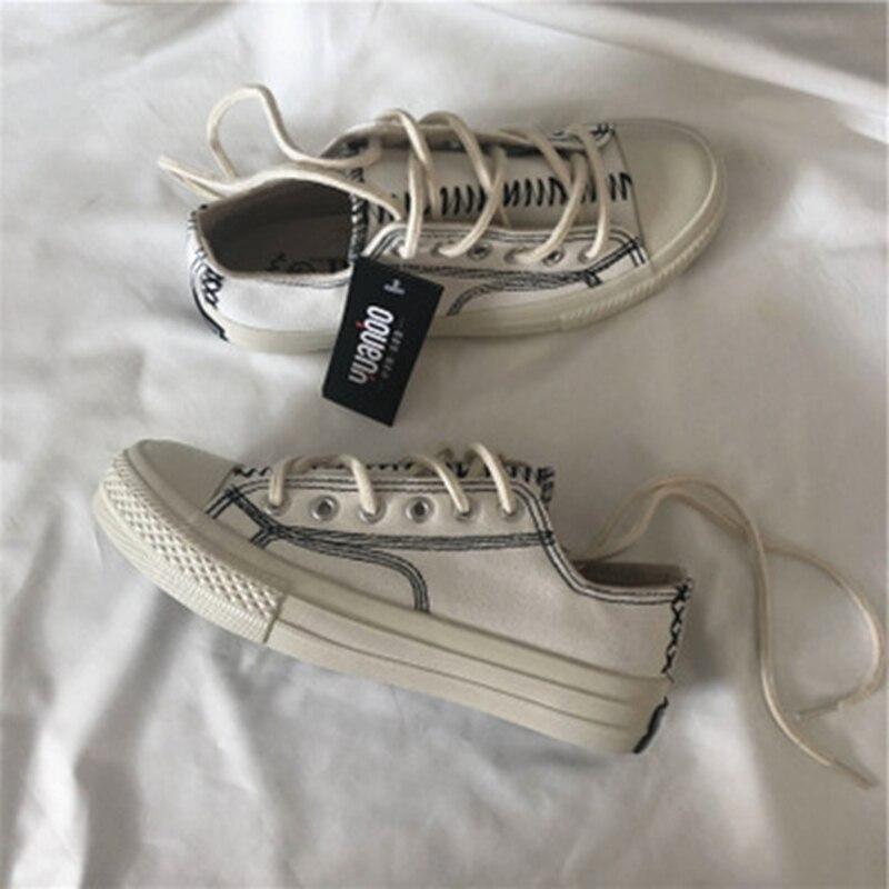 599a8add Estudiantes ¡ 2019 De Pequeña Zapatos blanco Blanco Planos Versión Mujeres  Negro Lona Salvaje Las rojo Coreana Nuevo Otoño Casuales ...