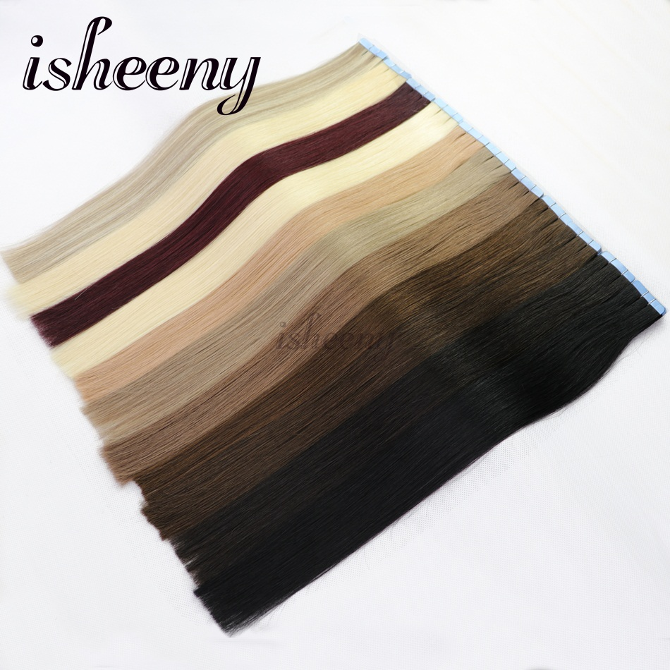 Isheeny Remy Human Hair On Tape 20 Inches Seamless Hair Extensions - Mensenhaar (voor wit)