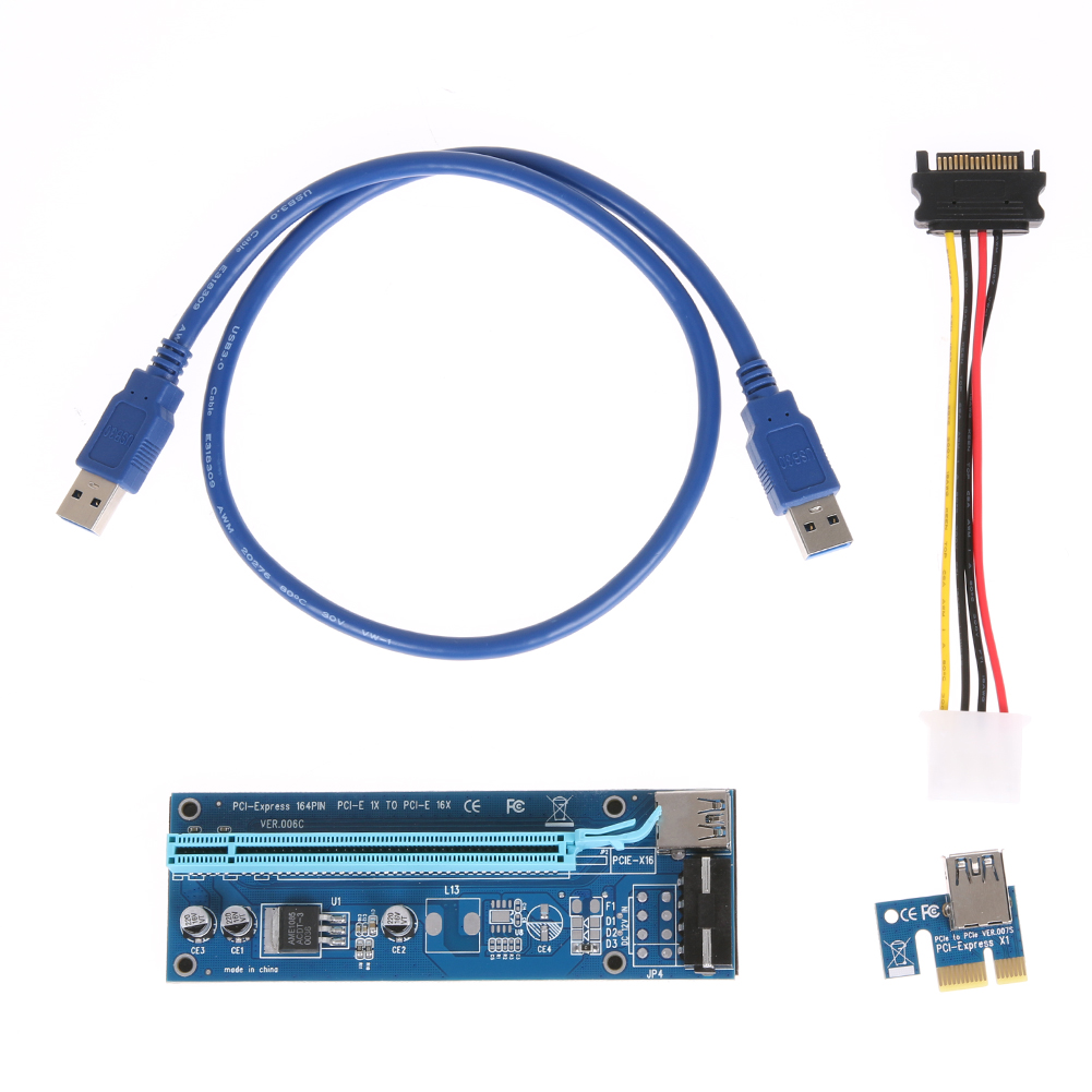 все цены на 60cm PCI-E PCI Express Riser Card 1X to 16X USB 3.0 Extender Graphic Card Adapter SATA 15Pin to 4Pin Power Cable for BTC Mining онлайн