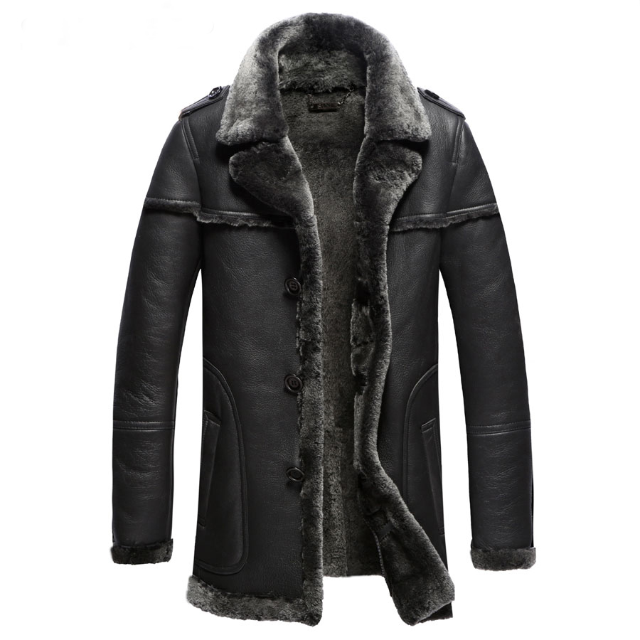 Stock Clear 1 pc Sheepskin Fur Shearling Men Formal Fur Coats 100% Guaranteed Real Natural Fur Clothng Male Winter Thick Coat