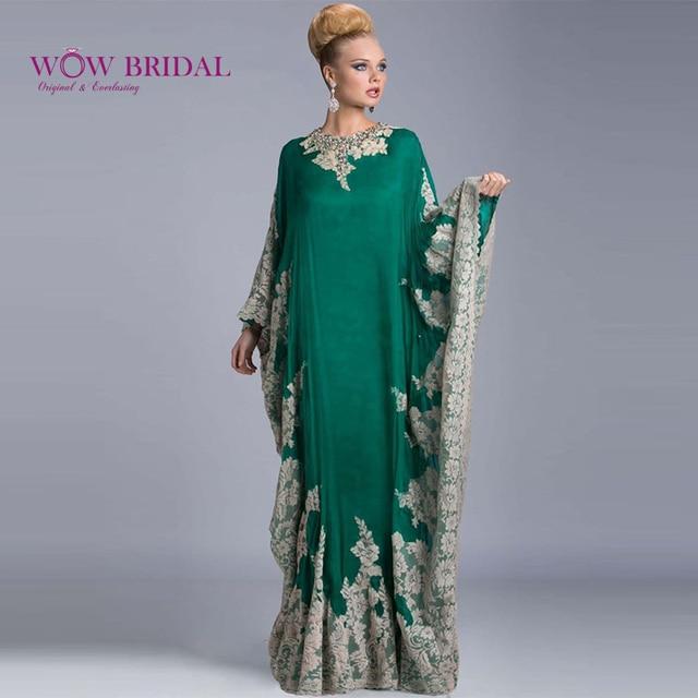 138b1b08f60caf Wowbridal groen luxe kant abaya dubai avondjurk lange mouwen geappliceerd  kaftan dubai avondjurk modieuze arabisch jurk