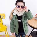 2016 New Arrivals Winter Boy Cotton Jacket Kids Children Solid Color Thicken With Fur Collar Hooded Padded Coat Baby Outwear