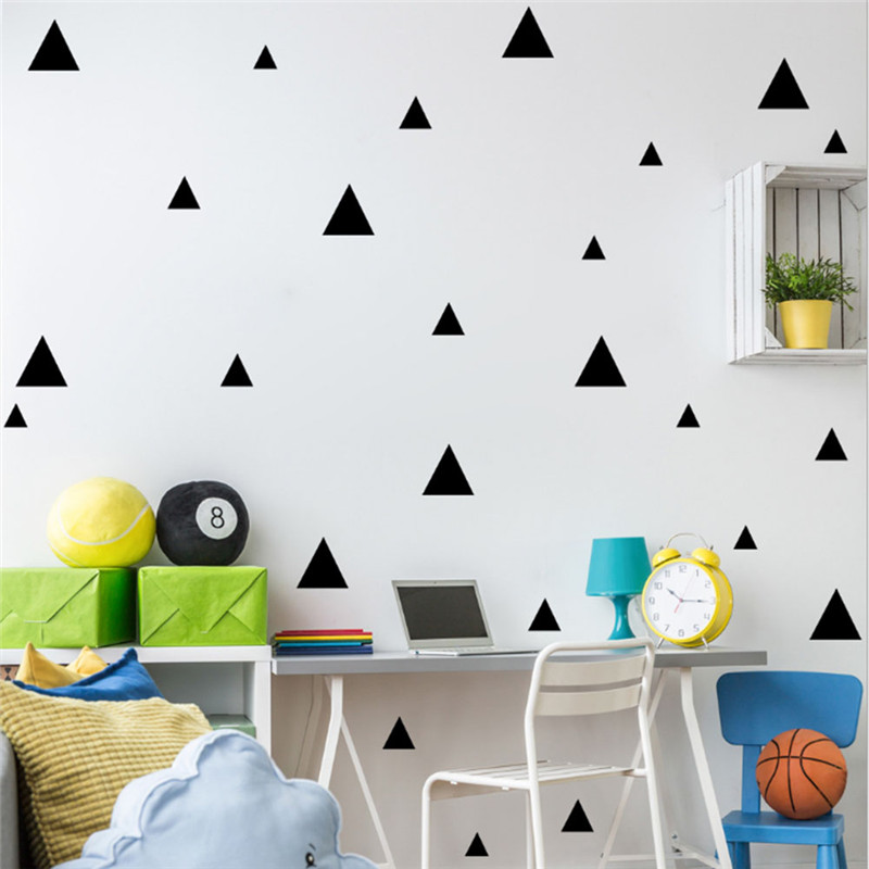 39pcs/set Triangle Shaped Wall Stickers Self Adhesive DIY Wall Decals for Kids Room Bedroom Kitchen Nursery Decorative Wallpaper ...