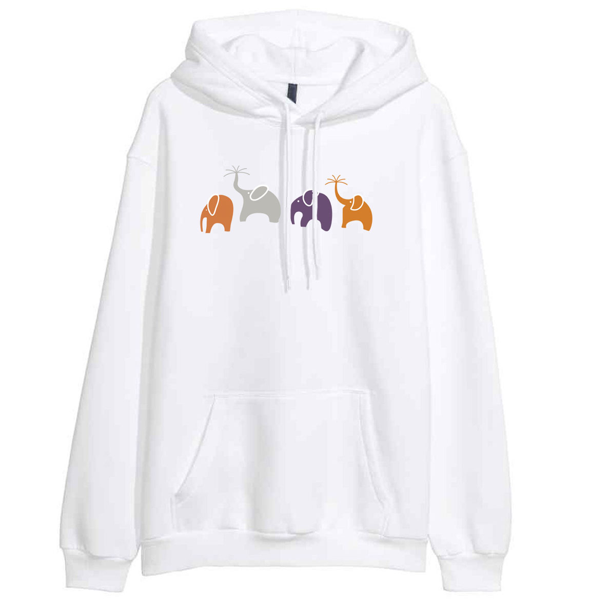 Hoodies 2019 Spring Winter Fleece Sweatshirt Brand Clothing Fashion Hip Hop Animal Elephant Cartoon Print Kawaii Crossfit Hoody