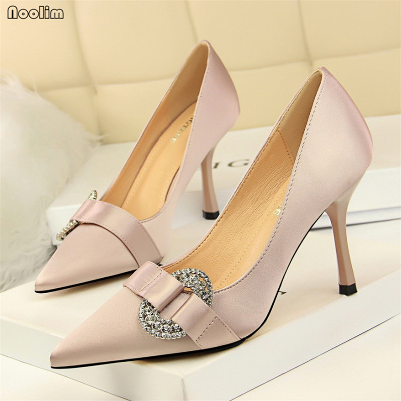 European Style Women's Shoes High Heels Stiletto Silk Shallow Mouth Pointed Sexy Banquet Rhinestone Buckle Women Pumps 278-7