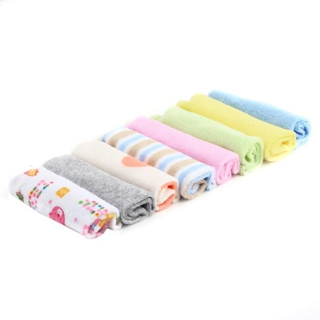 8Pcs/set Baby Washcloth Feeding Face Bath Towels Children Colorful Soft Bath Towel Washers Hand Cute Cartoon Wipe Wash Cloth