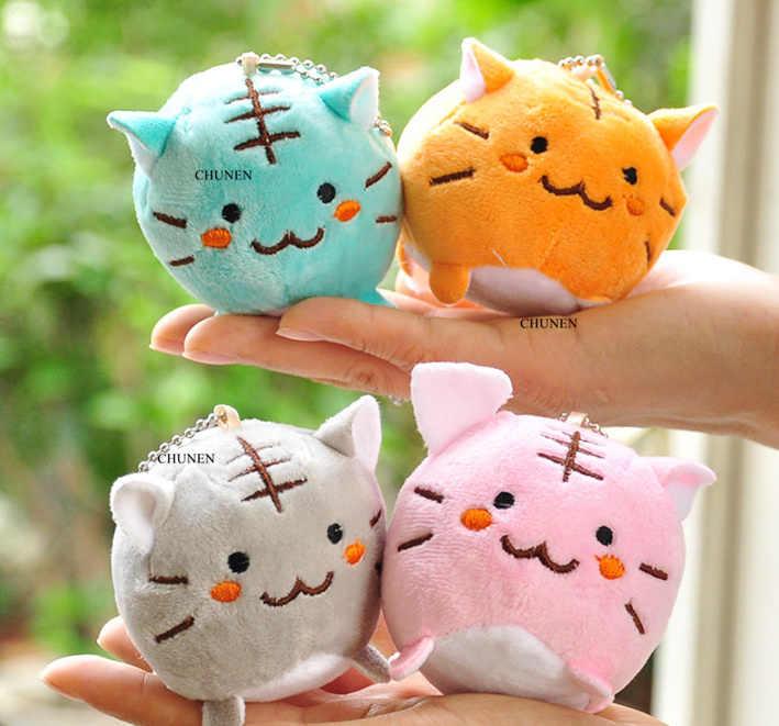 4 צבעים, חתולים ממולא קטיפה צעצועים, 6CM כ., חמוד בפלאש צעצועים, ממולא מפתח שרשרת קטיפה צעצועים