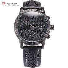 Shortfin SHARK Reloj Deportivo Negro Completo Tablero Función de Cronógrafo Resistente al agua por 30m Impermeable Banda de Cuero Reloj de Pulsera para los Hombres / SH255