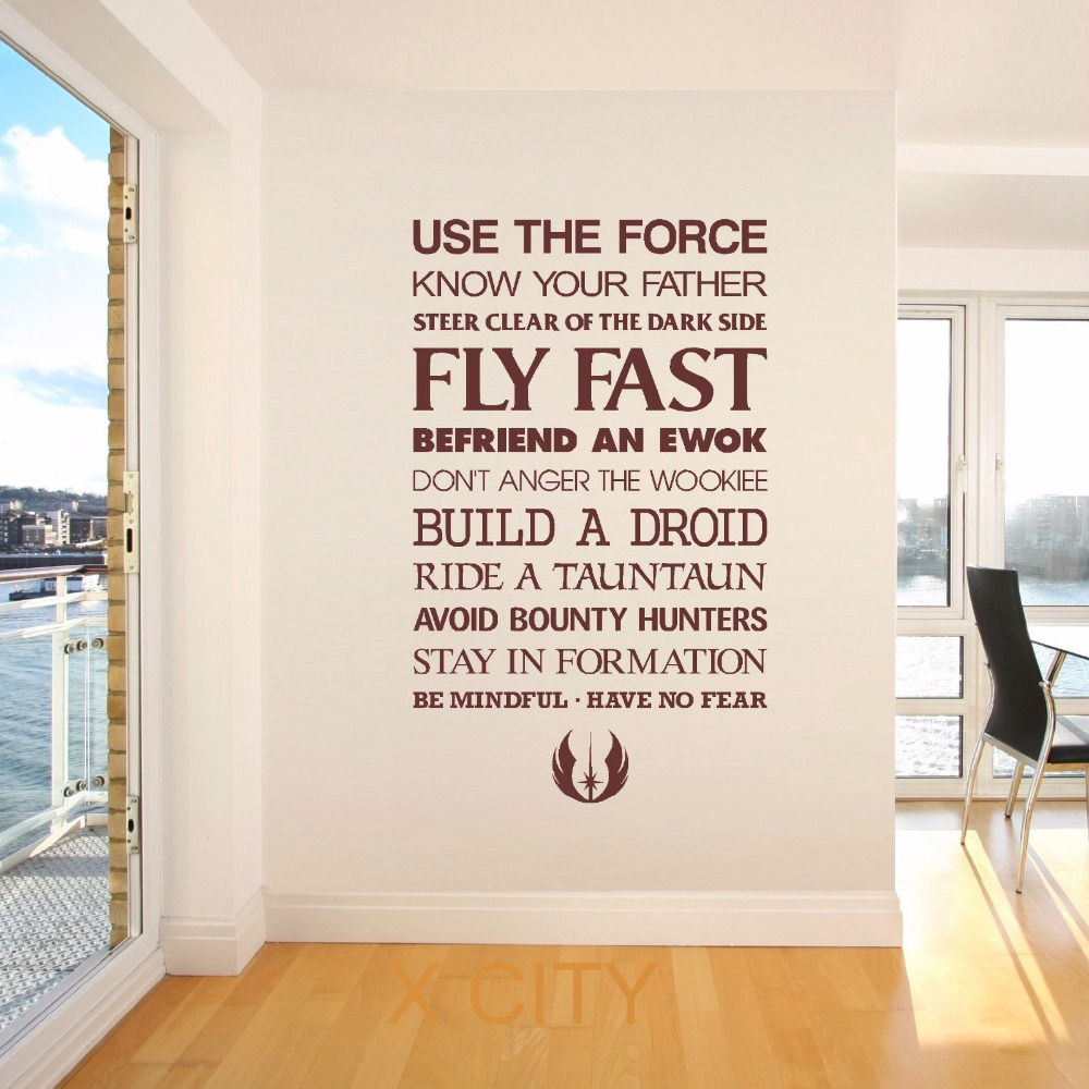 STAR WARS QUOTE USE THE FORCE wall art sticker decal removable vinyl cut movie themed DIY Home Decoration Poster Mural Room-in Wall Stickers from Home ...  sc 1 st  AliExpress.com & STAR WARS QUOTE USE THE FORCE wall art sticker decal removable vinyl ...