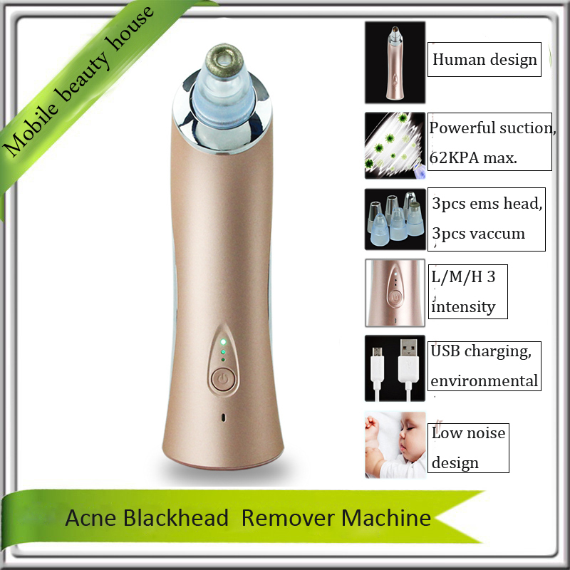 Professional Vacuum Suction Nose Blackhead Acne Cleaner EMS Stimulation Face Lifting Diamond Microdermabrasion Beauty Equipments diamond microdermabrasion vacuum suction nose blackhead acne pores cleaner removal ems skin lifting tightening beauty machine