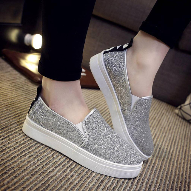 Glitter Shoes Fashion New Sequin Platform Women Loafers Slip On Canvas  Shoes Flats Autumn Female Creepers Shoes zapatos mujer 53fc68ae239f