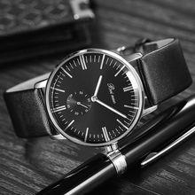 Marca de moda de Lujo Los Hombres de Negocios Reloj Masculino Correa de Cuero de Cuarzo Reloj de pulsera Con Pequeños Hombres Del Dial Relojes Reloj Hombre