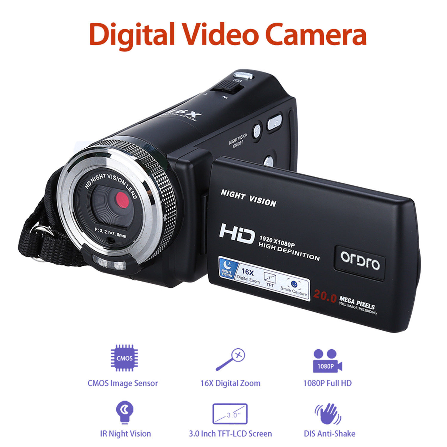 ORDRO HDV-V12 3.0 LCD 16X Digital Zoom 1080P FHD Digital Camera Cam Infrared DVR DV Video Recorder Night Vision CMOS Sensor