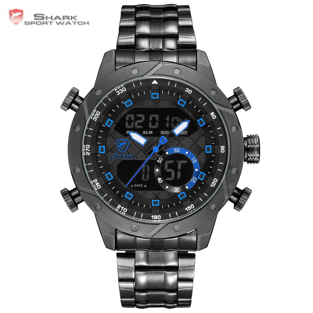Snaggletooth SHARK relogio masculino de luxo Chronograph Hiking Men Watch Digital LCD Alarm Stop Watches Vintage Clock / SH594