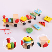 Small Wooden Train Toys Dragging Three Carriage Geometric Shape Matching Early Childhood Educational Train Set High