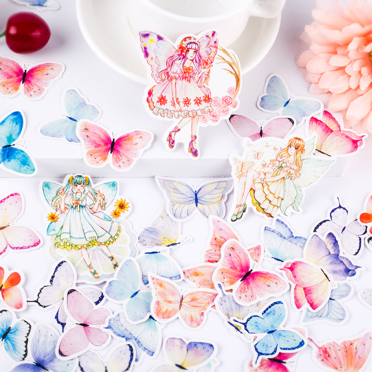 40pcs  Lovely Fairy Butterfly Elf Girl Decoration Stationery Sticker Diy Ablum Diary Scrapbooking Label Sticker Stationery
