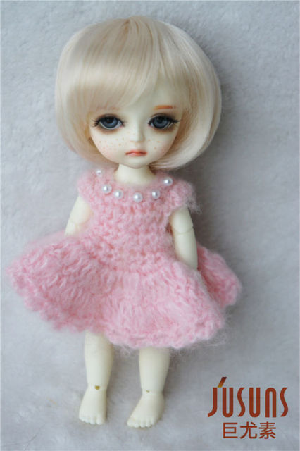 JD025 1/8 Short cut  Doll wig with bangs, 5-6inch  synthetic mohair BJD wig  Lati yellow doll accessories