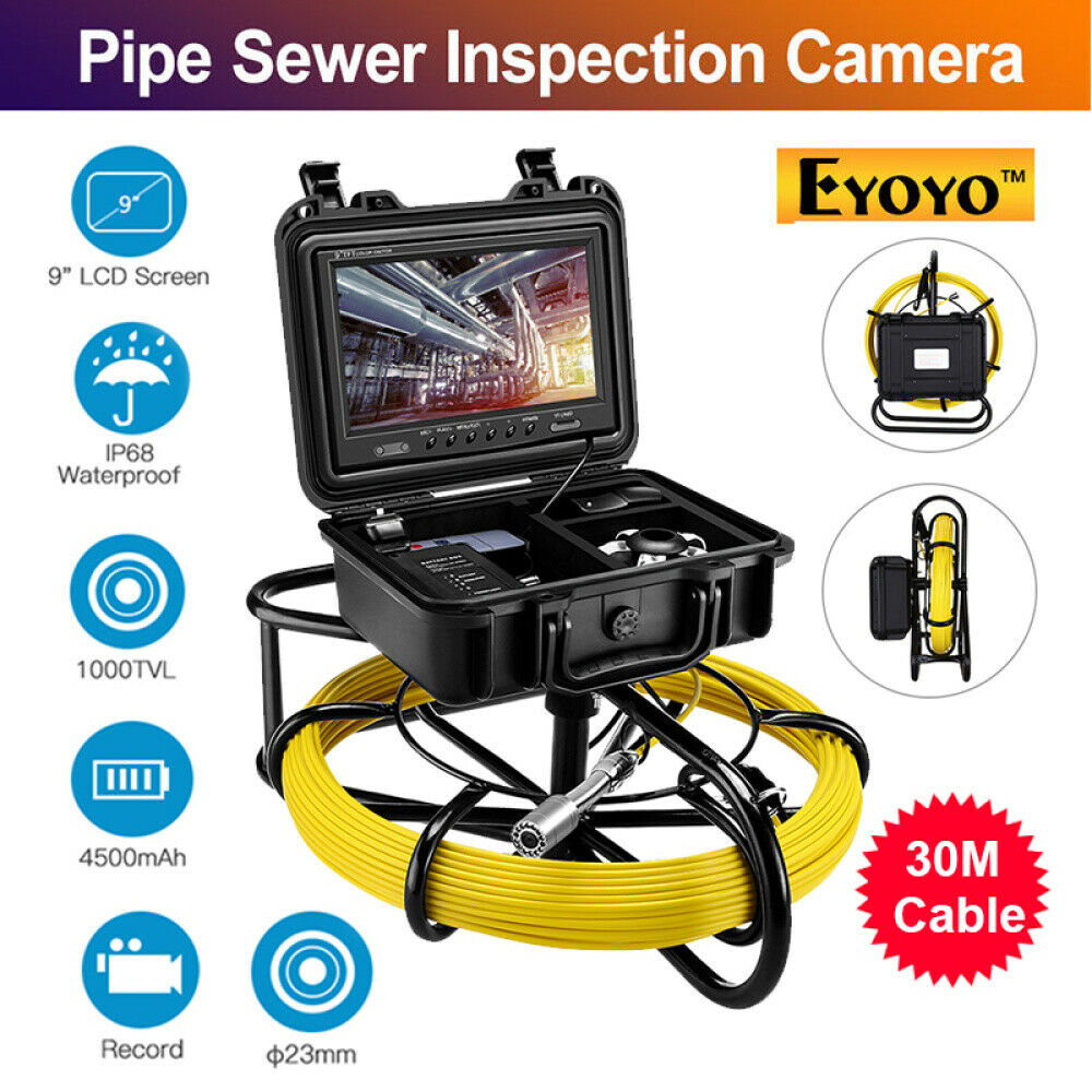 Eyoyo 23mm 9600A Pie Pipeline Endoscope Inspection Video Camera 30M Industrial Sewer Drain 9 Inch LCD 1000TVL 8GB DVR Recording