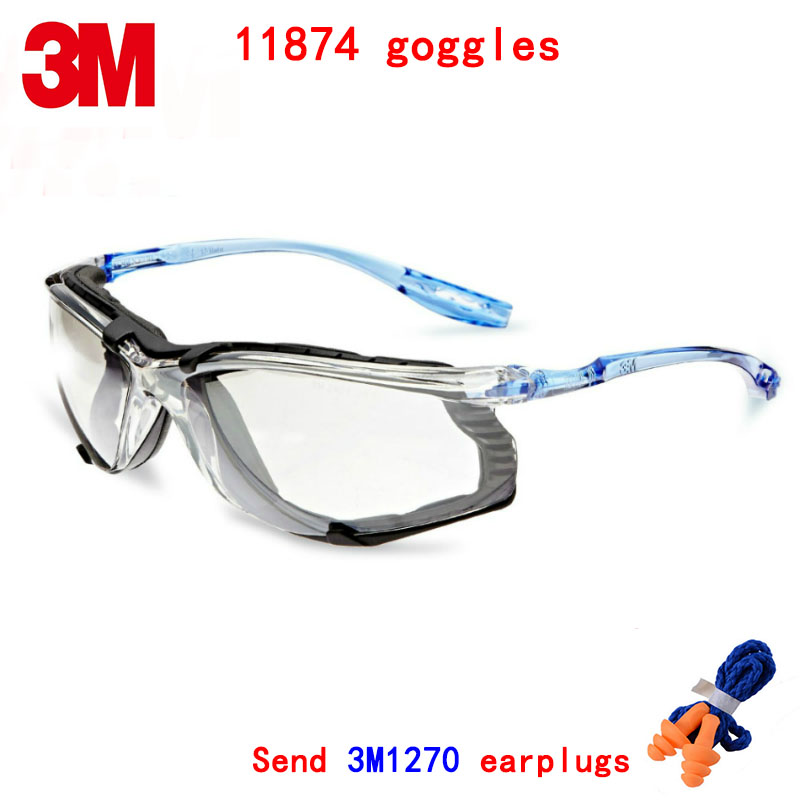 3M 11874 goggles Genuine security 3M protective goggles Sports section Foam frame Anti-fog Wearable earplugs safety goggles3M 11874 goggles Genuine security 3M protective goggles Sports section Foam frame Anti-fog Wearable earplugs safety goggles
