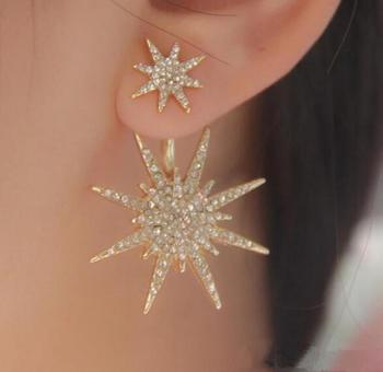 one pair fashion alloy stars rhinestone women austere earrings xye188 image
