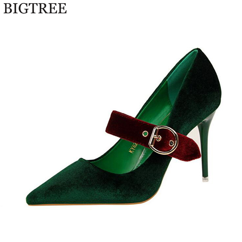 BIGTREE Women Pumps 2017 Sexy Suede High Heels Pointed Toe Party Buckle Shoes Woman Wedding Office Pumps Zapato Mujer k47 цены онлайн