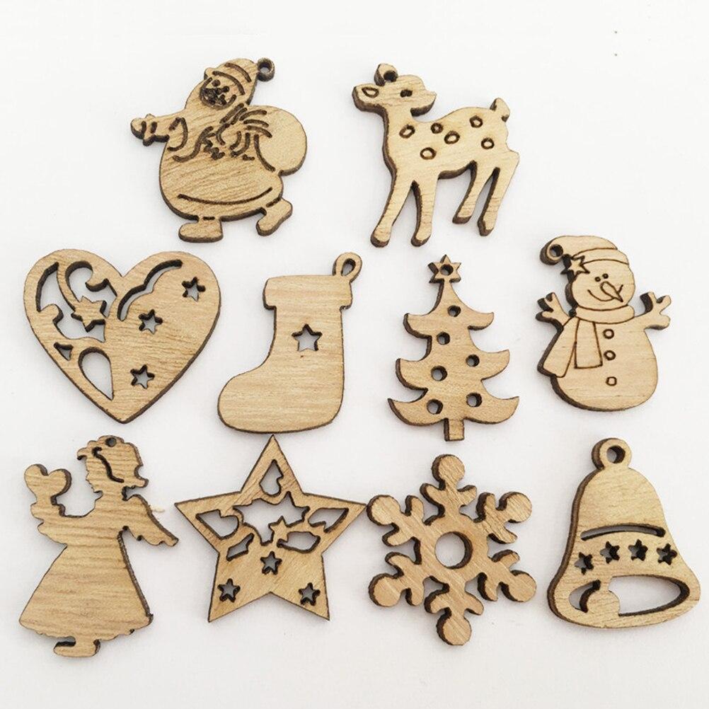 50x Mixed Cute Shape Unfinished Wood Pieces Embellishment Christmas Decor